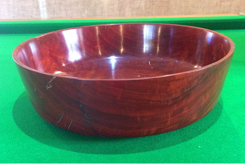 Tall Straight Sided Salad Bowl - Solid Red Gum
